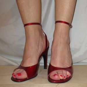 SERGIO ROSSI Red Metallic Ankle Strap Heels